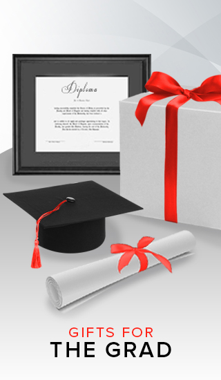 Picture of diploma frame, diploma, graduation cap, and gift box. Click to shop Gifts for the Grad.